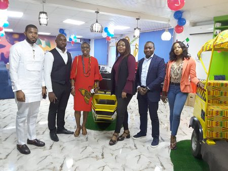 From L-R Otto, CEO of Incubator Africa 3rd from Left, and management staff of Interswitch Nigeria at the Slum2School STEM and Innovation Lab