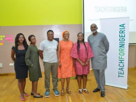 L-R Staff of Teach For Nigeria, Mrs Ayida-Otobo at the middle, the Chairman Teach For Nigeria at the extreme end.